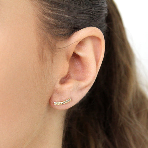 RIVKY GOLD FILLED CURVE STUDS