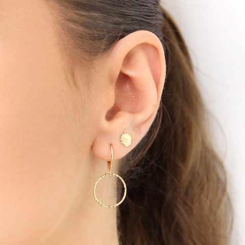 RAIZY GOLD FILLED ROUND HOLLOW DROP EARRINGS