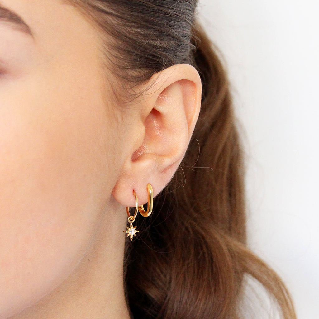 STAR CRYSTAL II 1 MICRON GOLD HOOP DROP EARRINGS