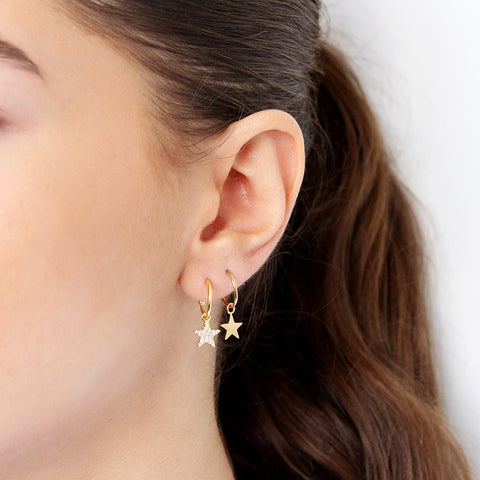 STAR 1 MICRON GOLD HOOP DROP EARRINGS