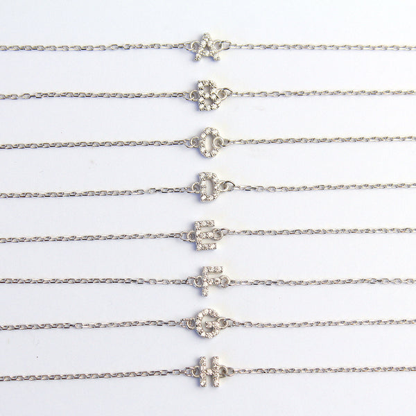 INITIAL CRYSTAL SILVER BRACELET
