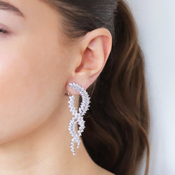 NISHA SILVER CRYSTAL TWIST DROP EARRINGS
