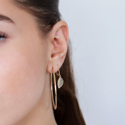 LEAF 2 MICRON GOLD DROP EARRINGS