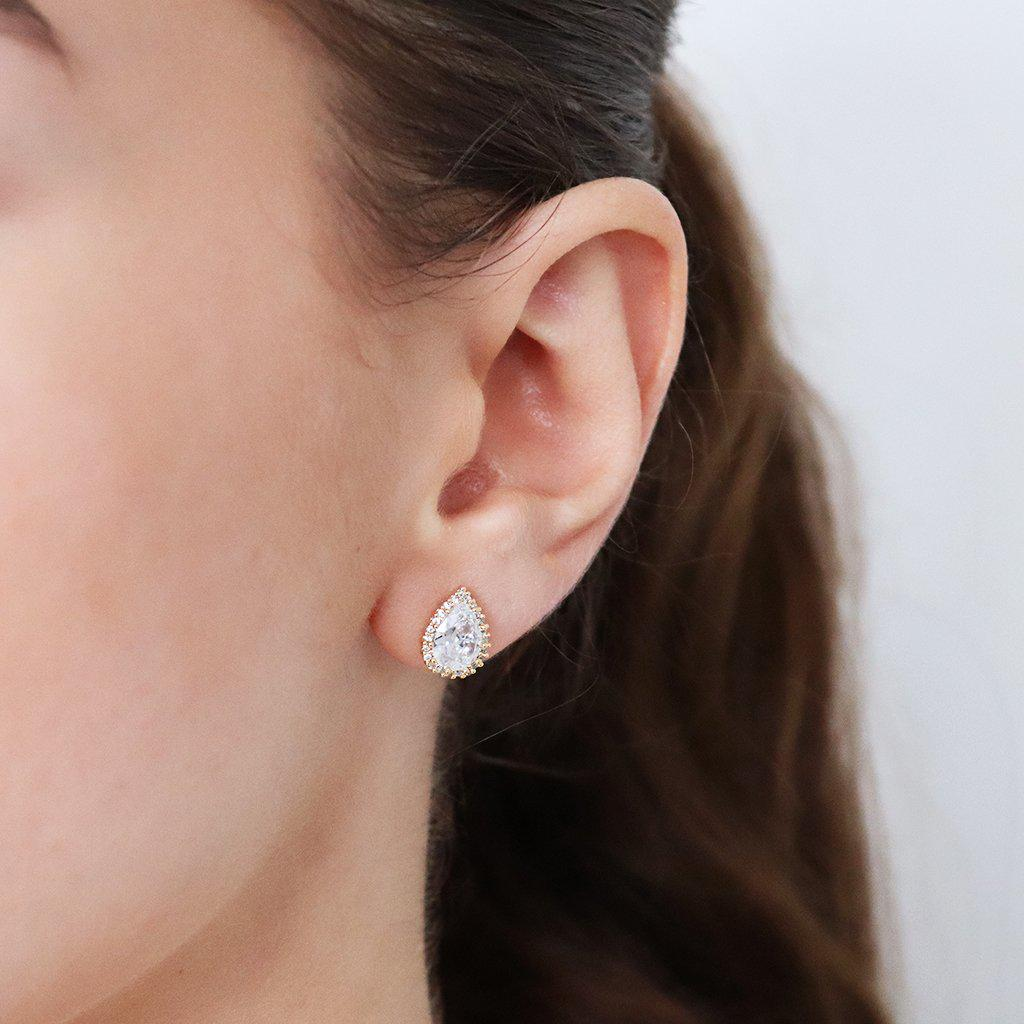 RAINE GOLD TEAR DROP CRYSTAL STUD EARRING