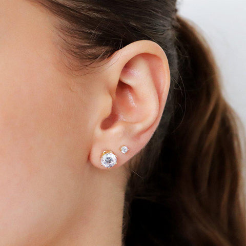 MABEL 3MM CRYSTAL GOLD BASE STUDS