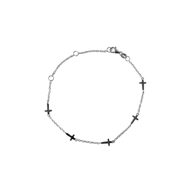 PLAIN CROSS SILVER BRACELET