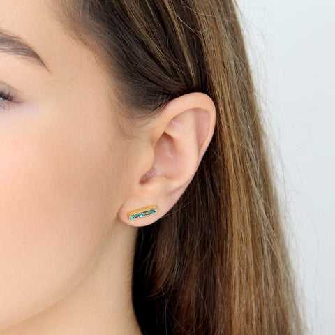LEA TURQUOISE SEMI-PRECIOUS 2 MICRON GOLD STUDS EARRINGS