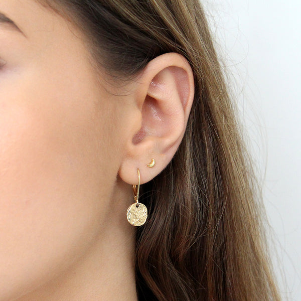 MOON MINI GOLD PLATED STUDS