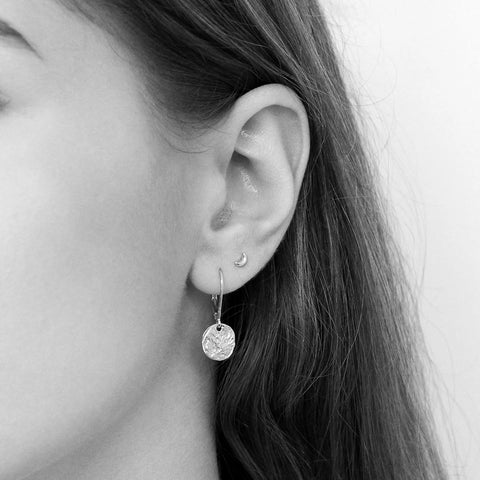 BIONCA DROP DISC STERLING SILVER EARRINGS