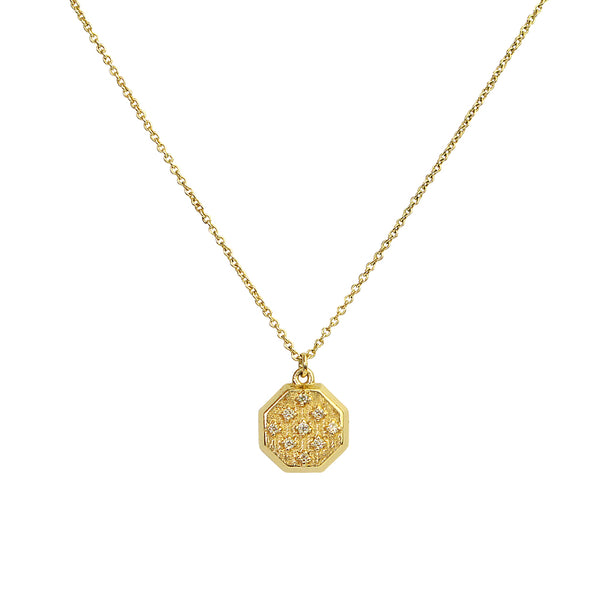 Sorina Crystal Octagon Disc Gold Pendant