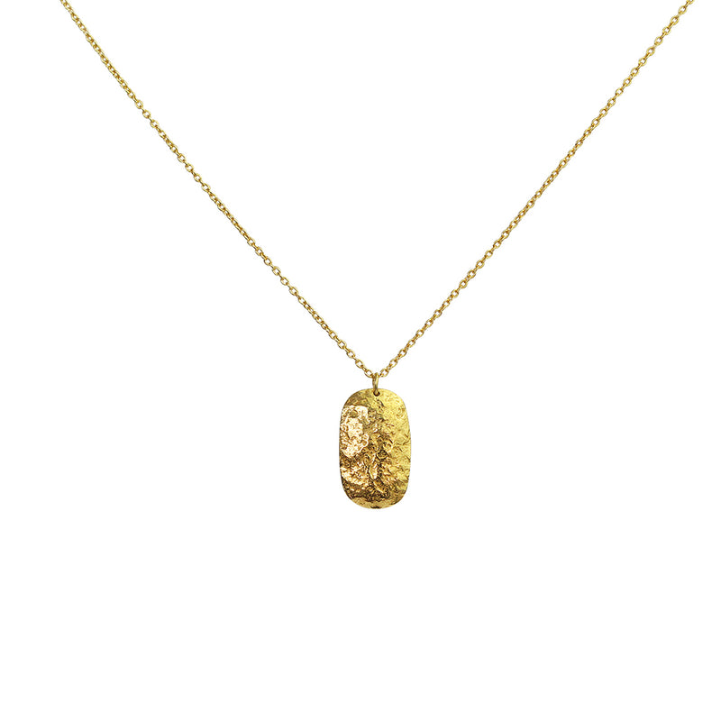 ryan hammered disc 2 micron gold pendant