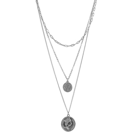 MOLLY COIN TRIPLE LAYERS SILVER NECKLACE