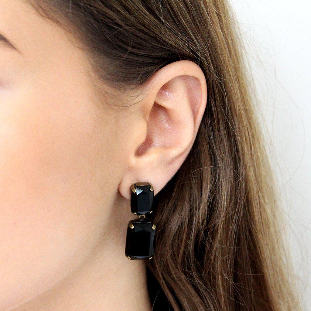 VALE LARGE BLACK DROP CRYSTAL EARRING