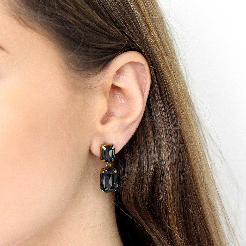 VALE SMALL BLACK DROP CRYSTAL EARRING