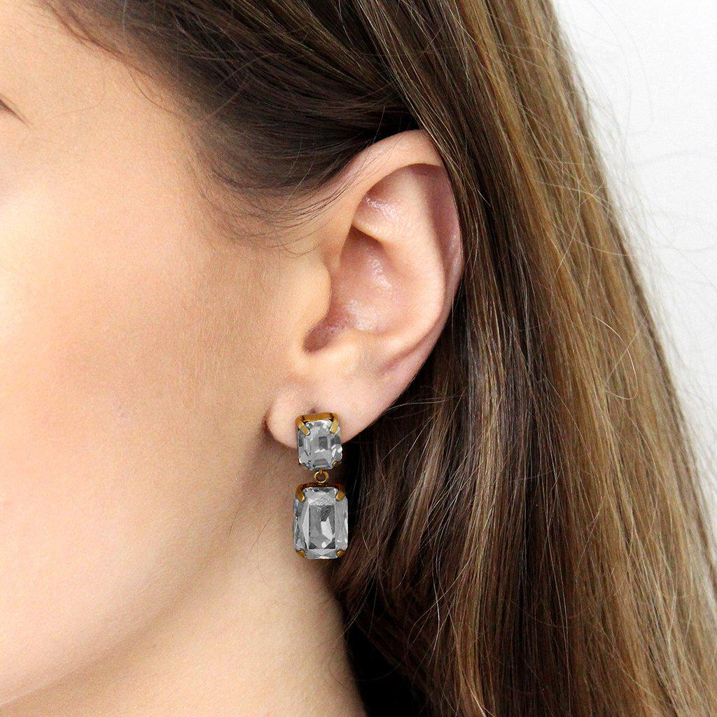 VALE SMALL GREY DROP CRYSTAL EARRING