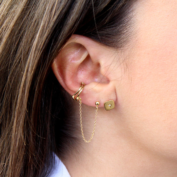 kiera 1 micron gold plated crystal ear cuff