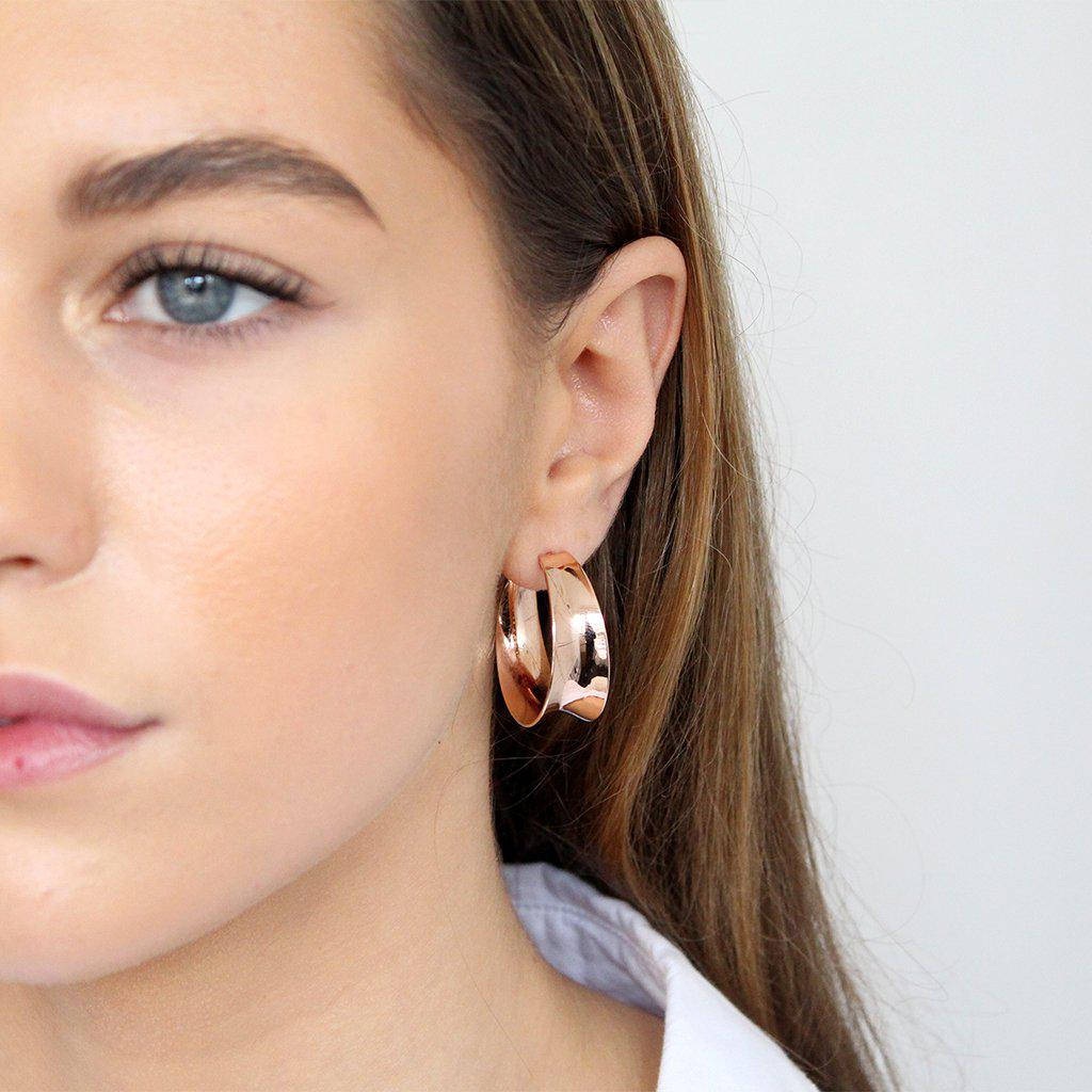 BOLD HOOPS ROSE GOLD EARRINGS