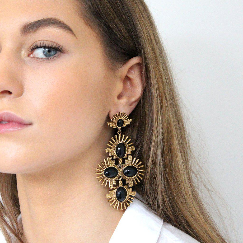 AURORA BLACK GOLD FASHION EARRINGS