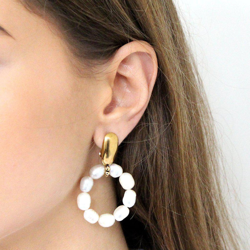 GYLDA PEARL & ANTIQUE GOLD EARRINGS