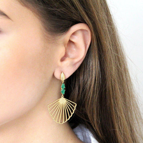 VEGA GREEN AND GOLD SHELL EARRINGS