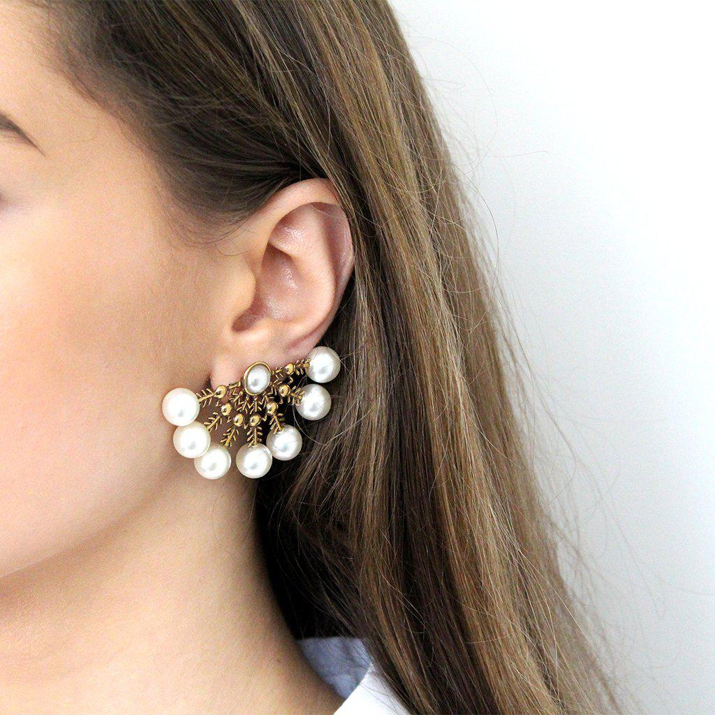 NIX PEARL GOLD HANDMADE STUDS EARRINGS