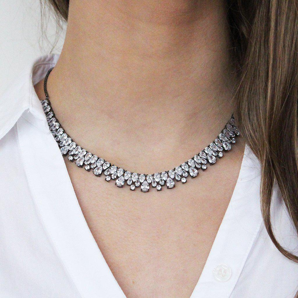 TAGE GUNMETAL CRYSTAL CHOKER/NECKLACE