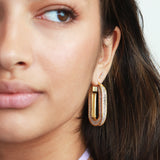 KAMYA RECTANGLE DOUBLE SIDE CRYSTAL HOOP GOLD EARRINGS
