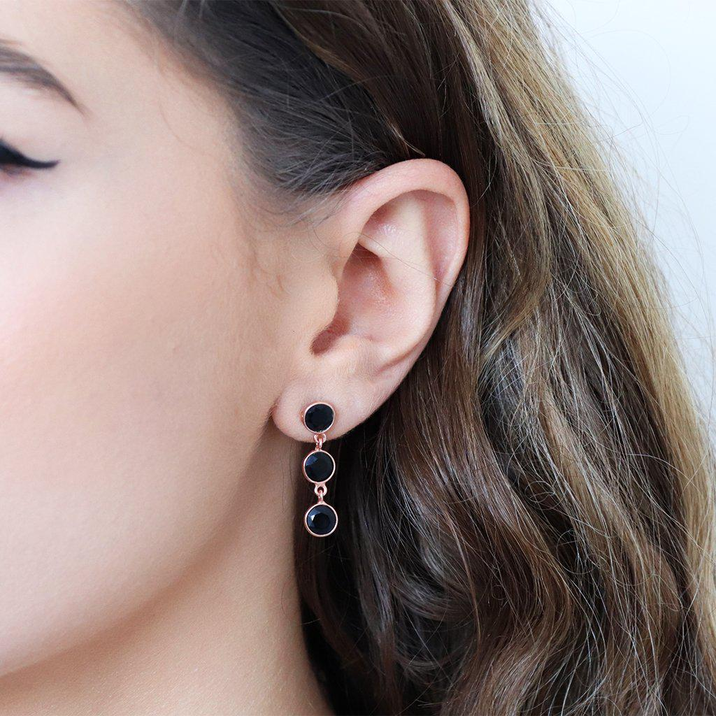 ISBEL ONYX ROSE GOLD SEMI PRECIOUS STONE EARRINGS