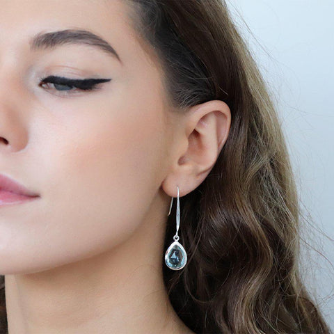 DAMIA TEAR DROP BLUE TOPAZ SILVER EARRINGS