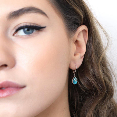 MIA TURQUOISE SEMI-PRECIOUS STERLING SILVER EARRINGS