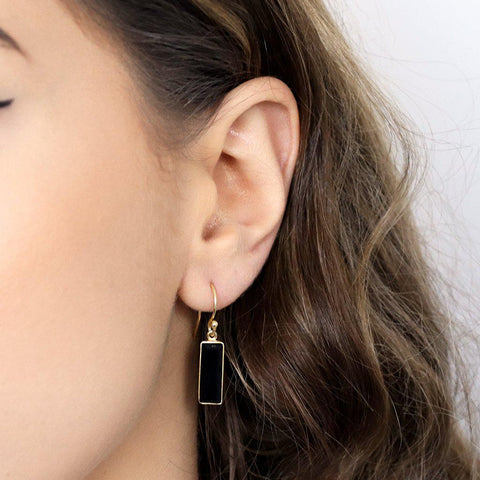 YARELI ONYX SEMI-PRECIOUS 2 MICRON GOLD EARRINGS