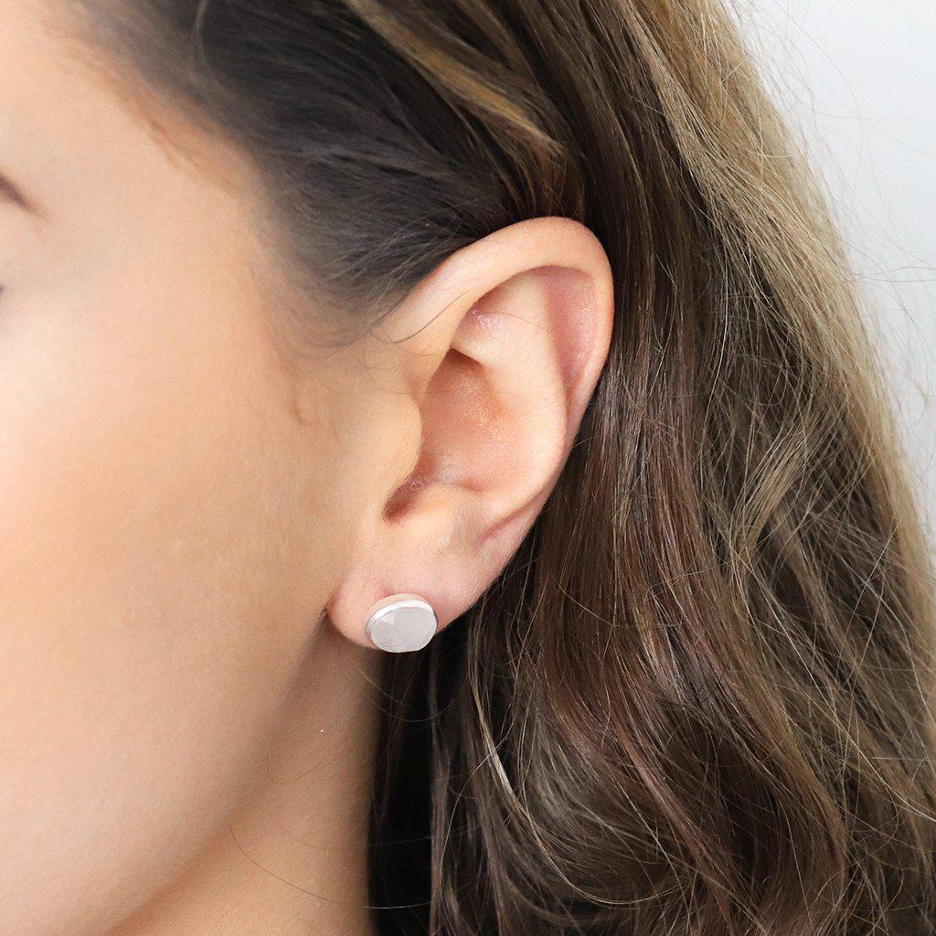 ADRIAN MOONSTONE SILVER STUD EARRINGS