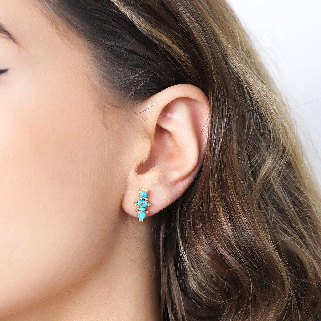 DAKOTA TURQUOISE GOLD STUD EARRINGS