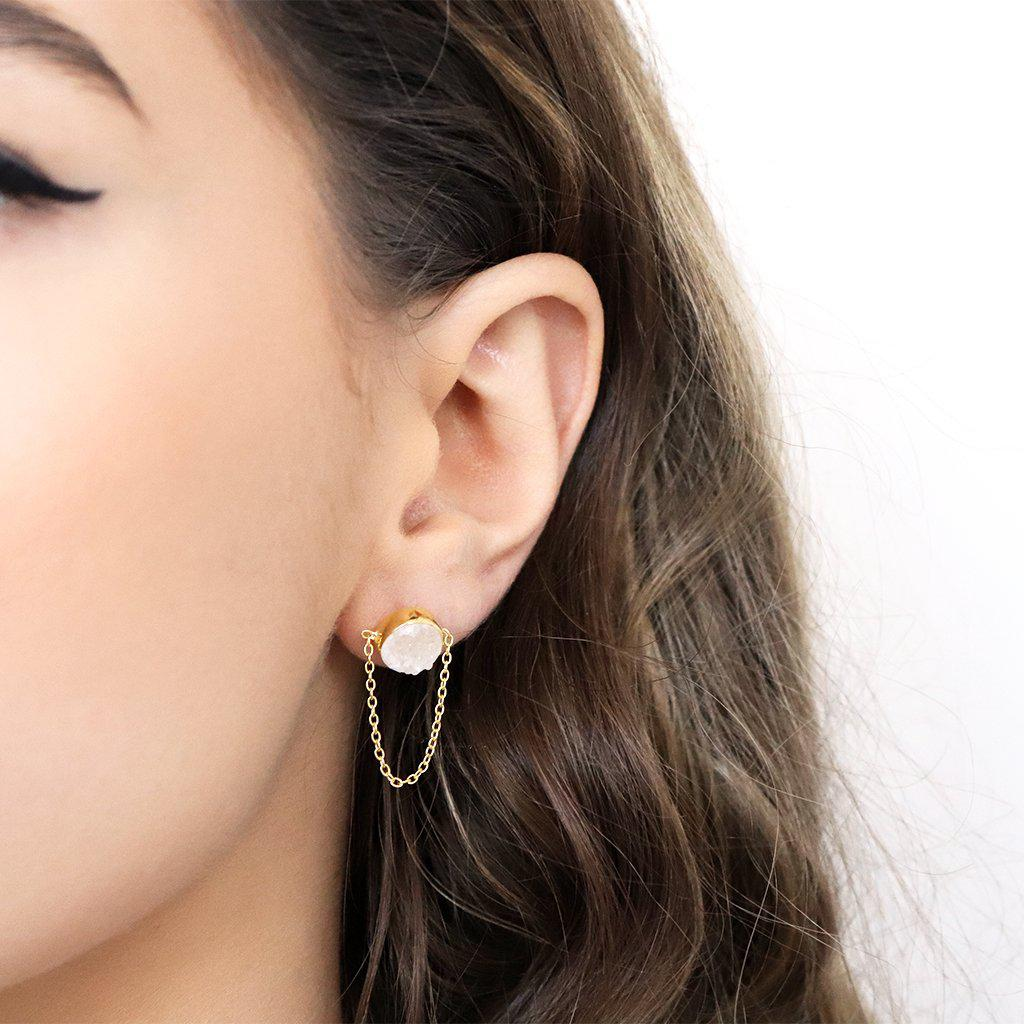 ESTRILA MOON STONE GOLD EARRINGS
