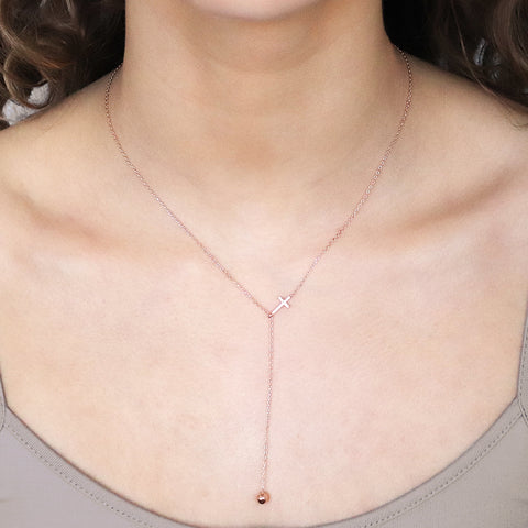 CROSS CRYSTAL 1 MICRON ROSE GOLD LARIAT NECKLACE
