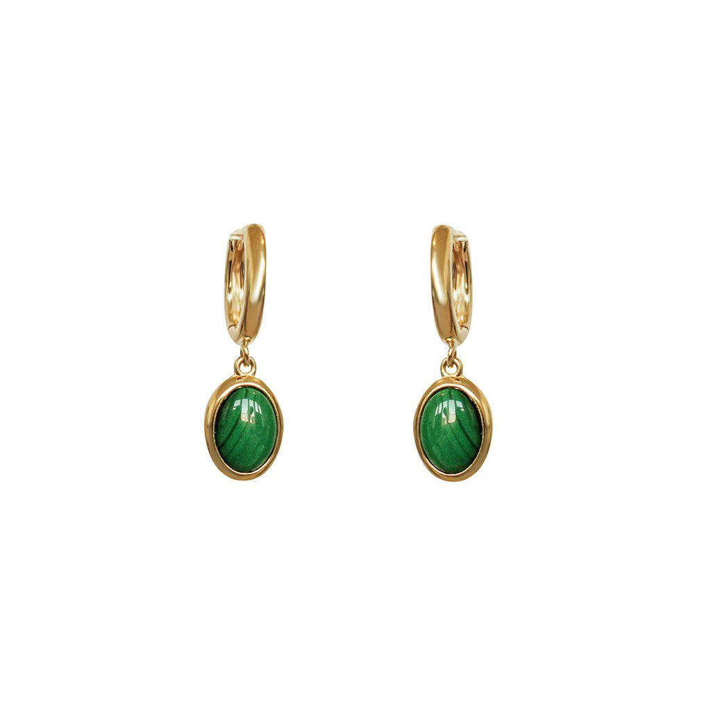 MALACHITE STONE 2 MICRON GOLD PLATED EARRINGS