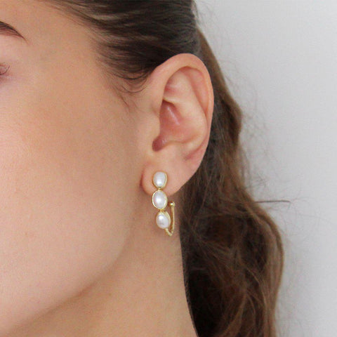 IVAH 2 MICRON GOLD PEARL STUDS