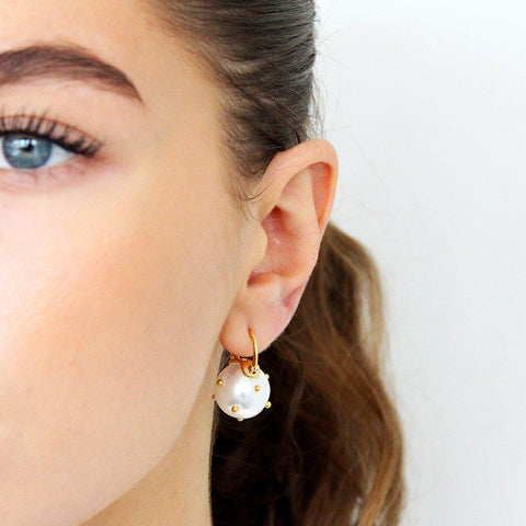 VESTA PEARL DROPS WITH GOLD SPECKS EARRINGS