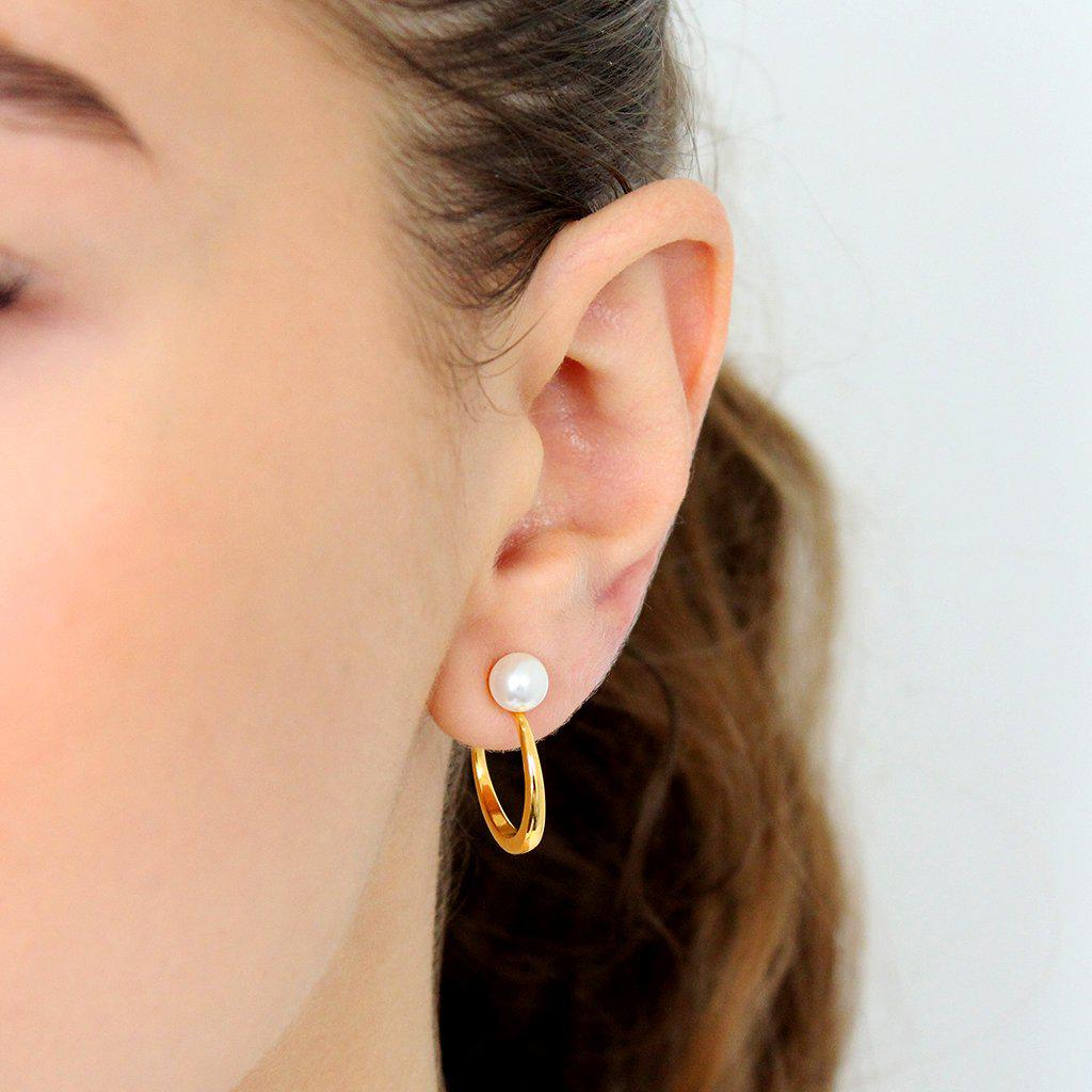 RAKEL GOLD AND DOUBLE PEARL HOOP EARRINGS