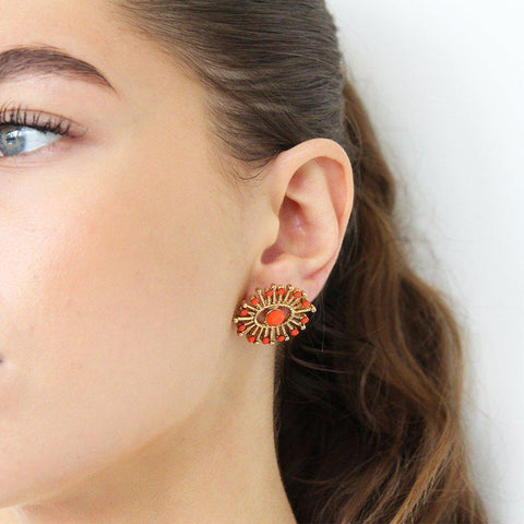 IMANI ANTIQUE GOLD & ORANGE STUD EARRINGS