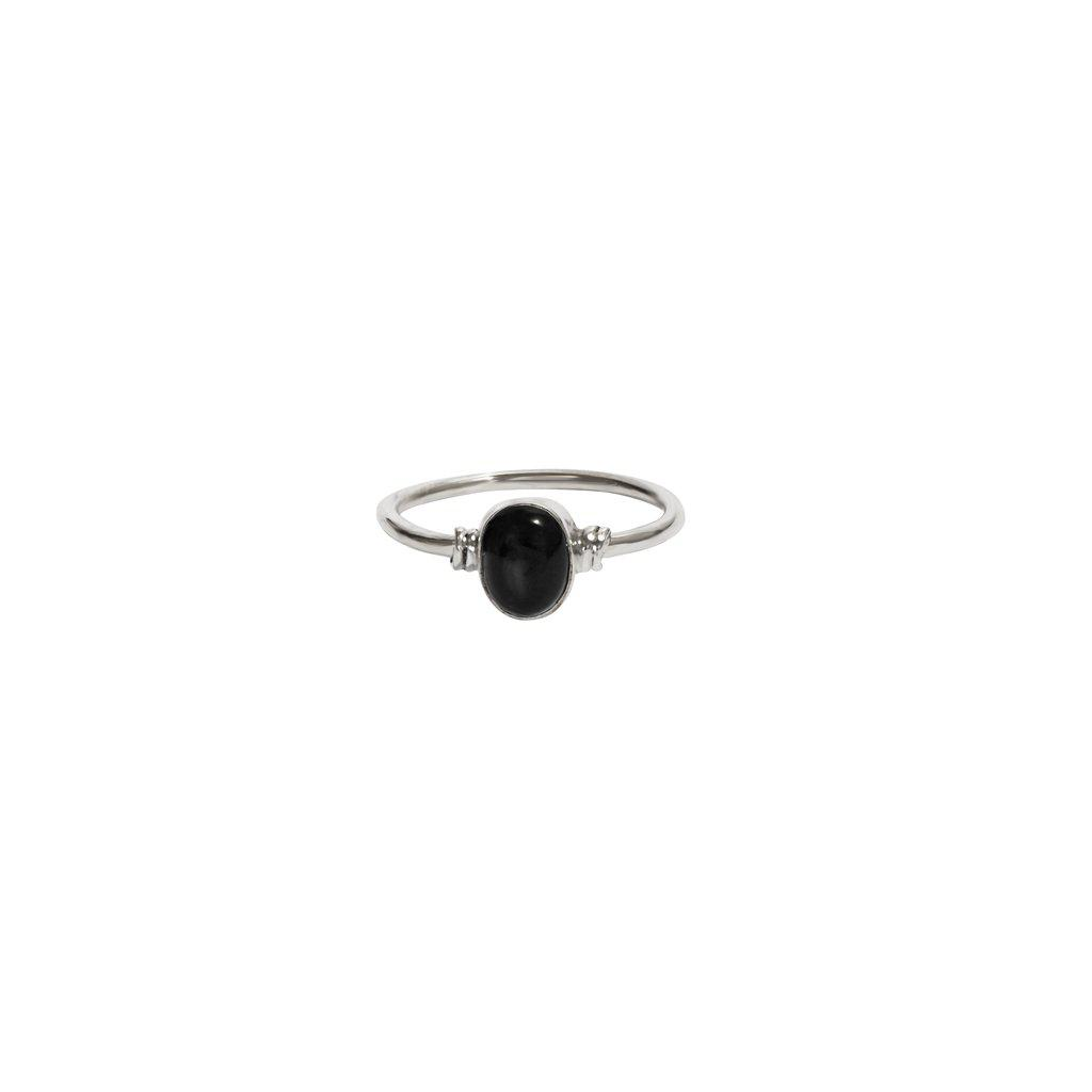 ZELLA ONYX OVAL STERLING SILVER RING