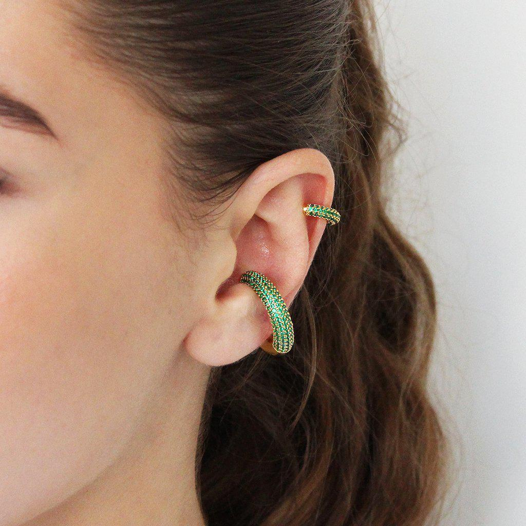 GREEN CRYSTAL CONCH CUFF EARRING