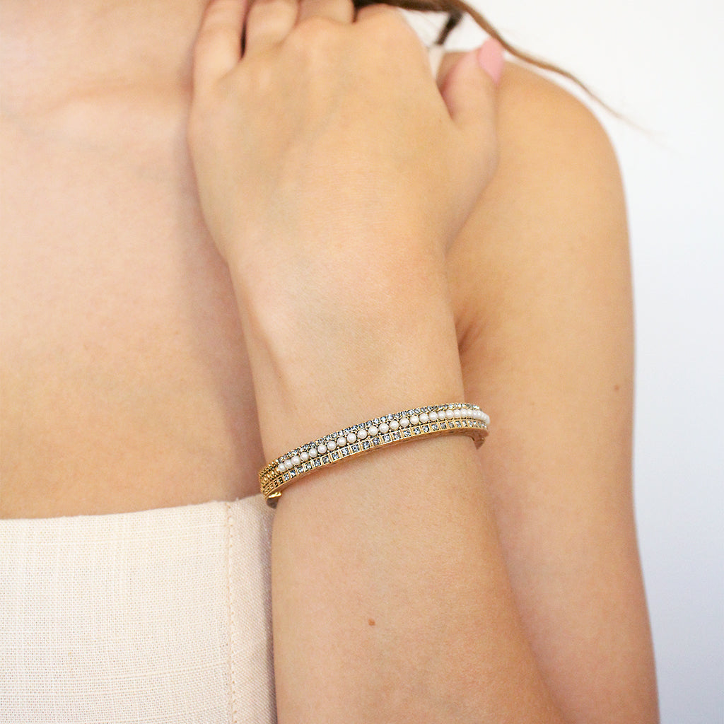 KAN ANTIQUE GOLD CRYSTAL PEARL CUFF