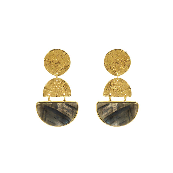 Safiya semi precious gold earrings