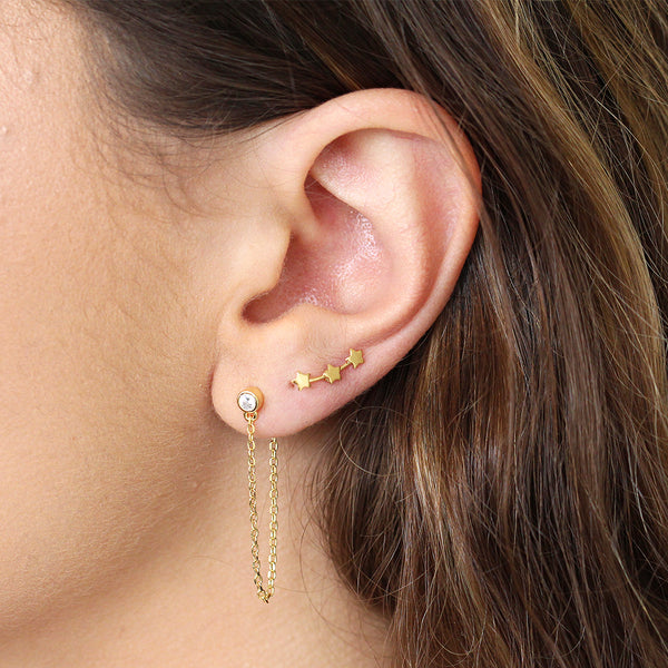 CRYSTAL THREAD DROP CHAIN GOLD EARRINGS
