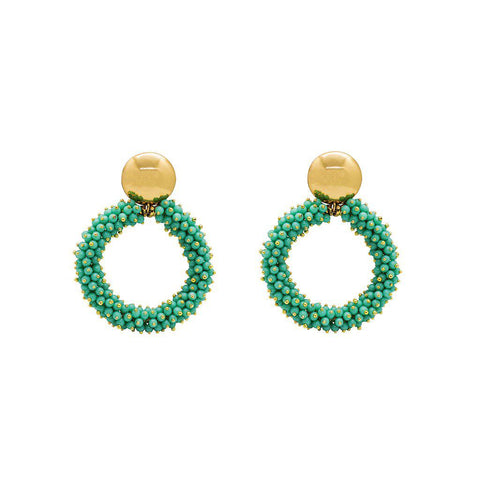 INEMA TURQUOISE GOLD EARRINGS