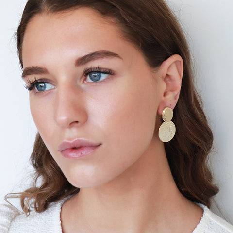 VITKA COIN GOLD PLATED EARRINGS