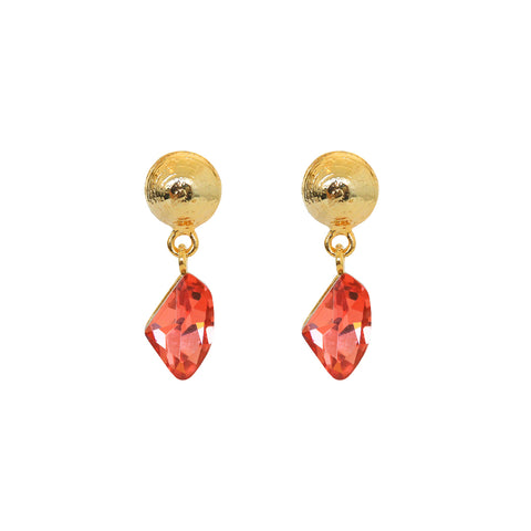 VERKA PINK CRYSTAL DROP EARRINGS