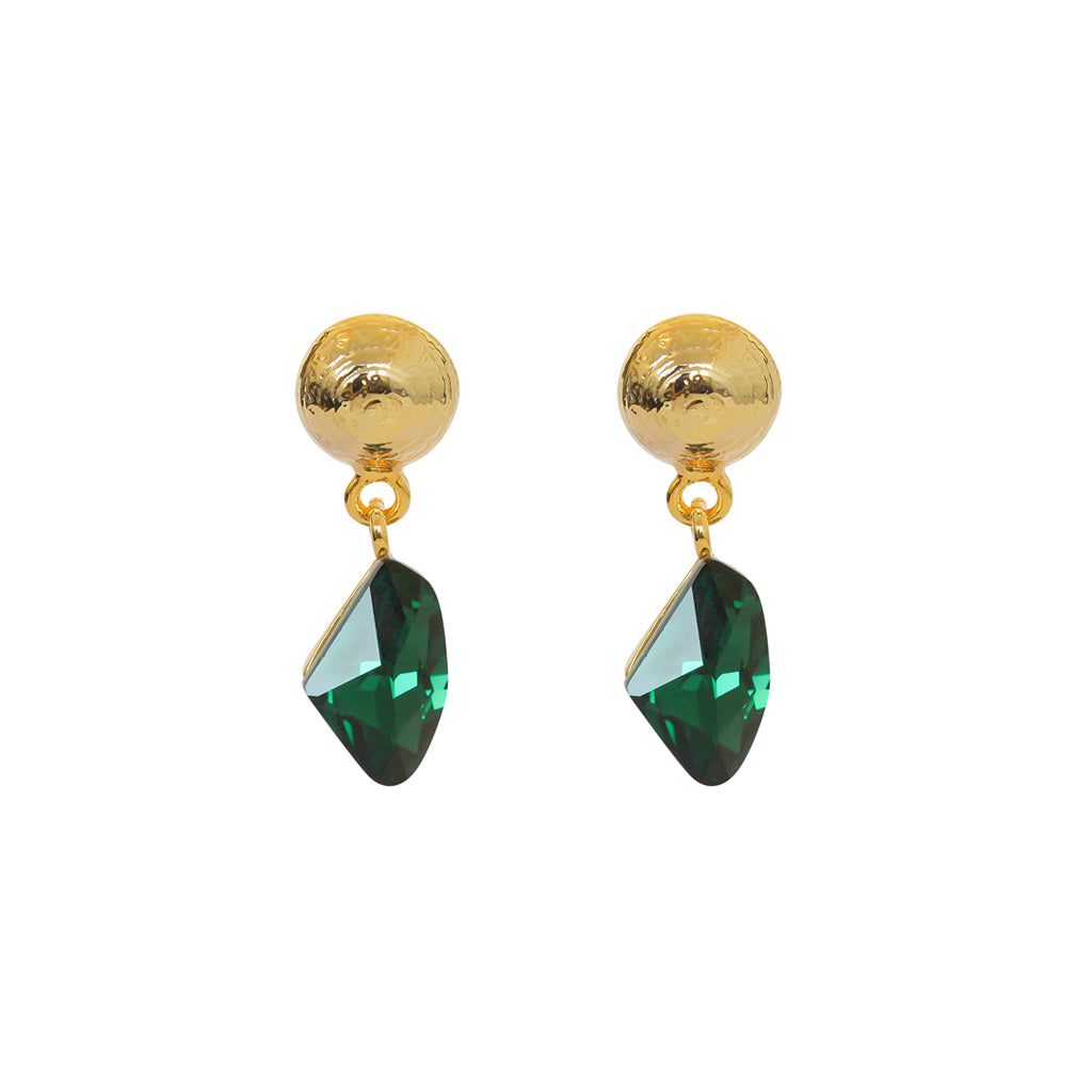 VERKA GREEN CRYSTAL DROP EARRINGS