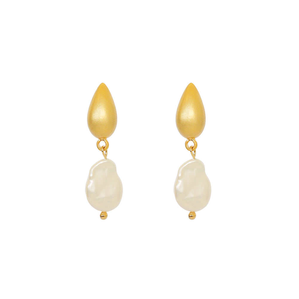 VEOLA GOLD PLATED PEARL DROP EARRINGS